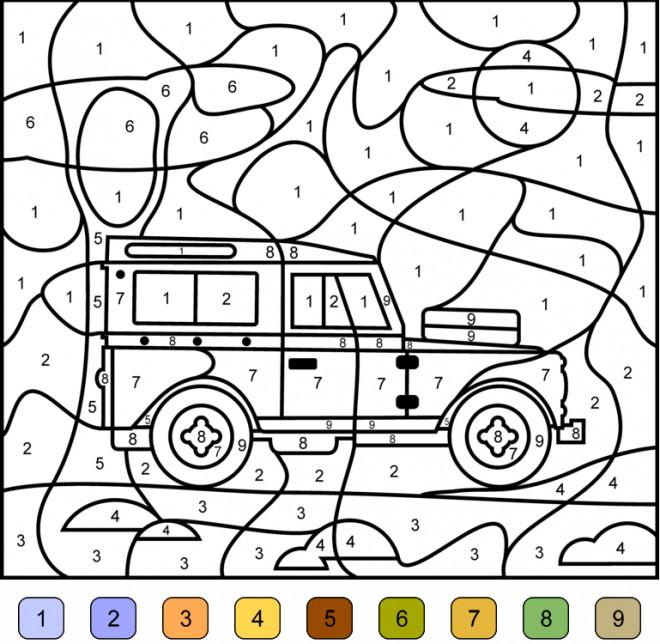 Coloriage et dessins gratuits Addition magique voiture 4X4 en couleur à imprimer