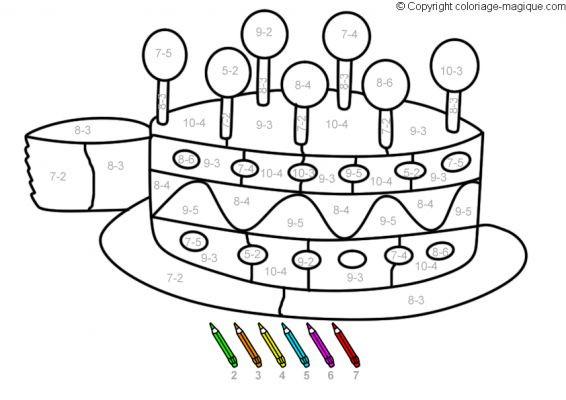 Coloriage et dessins gratuits Magique Soustraction jusqu'à 10 à imprimer