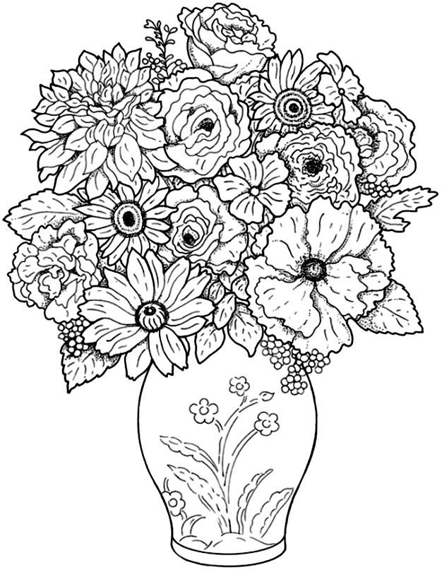 Coloriage adulte fleurs dans une vase dessin gratuit - Dessiner un vase ...