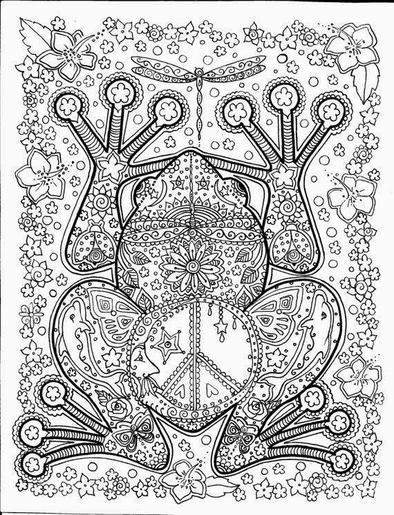 Coloriage et dessins gratuits Adulte Grenouille en noir à imprimer
