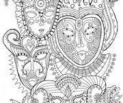 Coloriage et dessins gratuit Mandala Carnaval à imprimer