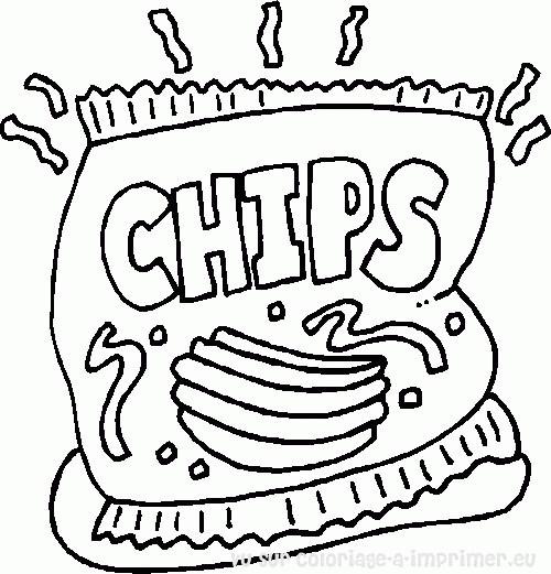 Coloriage et dessins gratuits Aliments Chips à imprimer