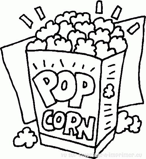 Coloriage Aliments Pop Corn Dessin Gratuit à Imprimer