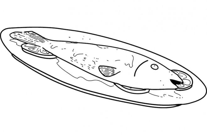 Coloriage et dessins gratuits Aliments Repas Poisson à imprimer