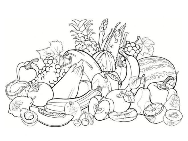 Coloriage Gratuit Fruits Legumes.Coloriage Fruit Et Legume Dessin Gratuit A Imprimer