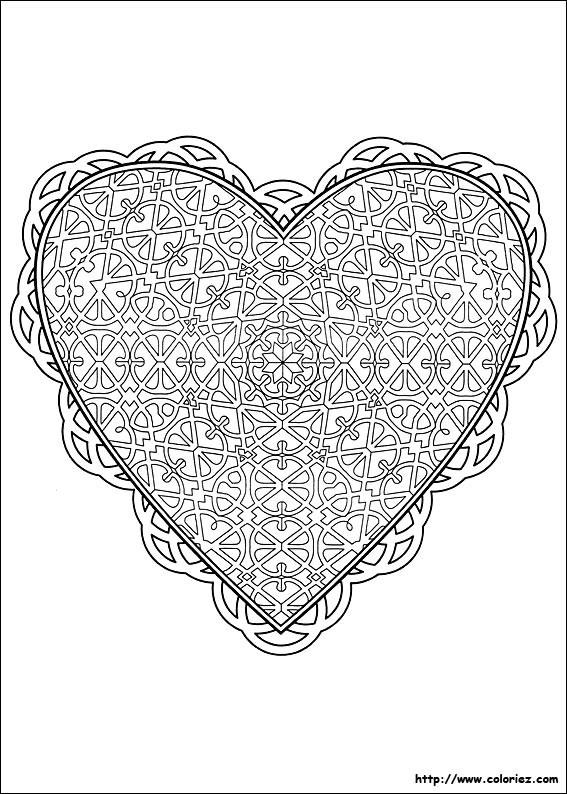 Coloriage et dessins gratuits Amour Coeur à imprimer