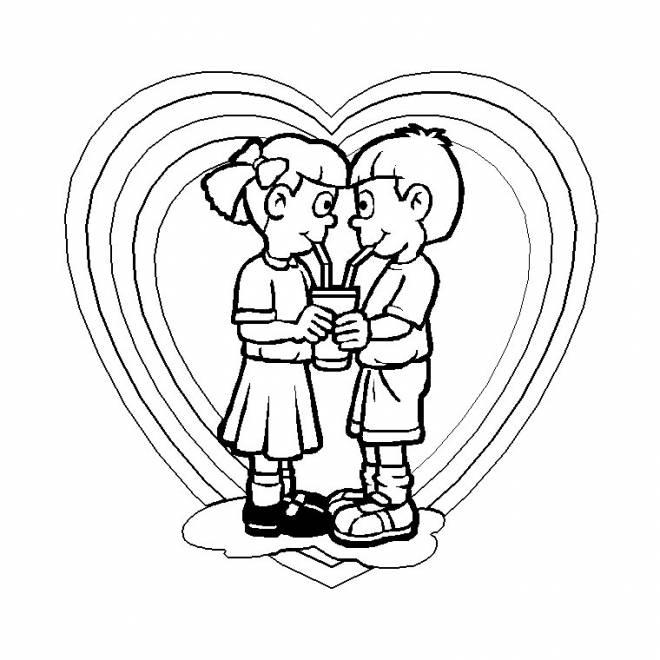 Coloriage Amour entre enfant dessin gratuit à imprimer