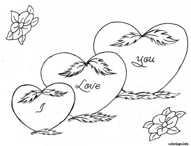 Coloriage Amour Je T'aime dessin gratuit à imprimer