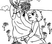 Coloriage Amoureux et bouquet de Fleurs