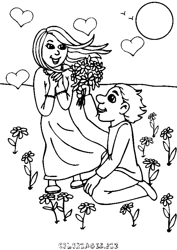 Coloriage et dessins gratuits Amoureux et bouquet de Fleurs à imprimer