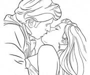 Coloriage Amoureux qui s'embrasse