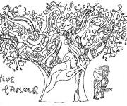 Coloriage Amoureux sous L'arbre