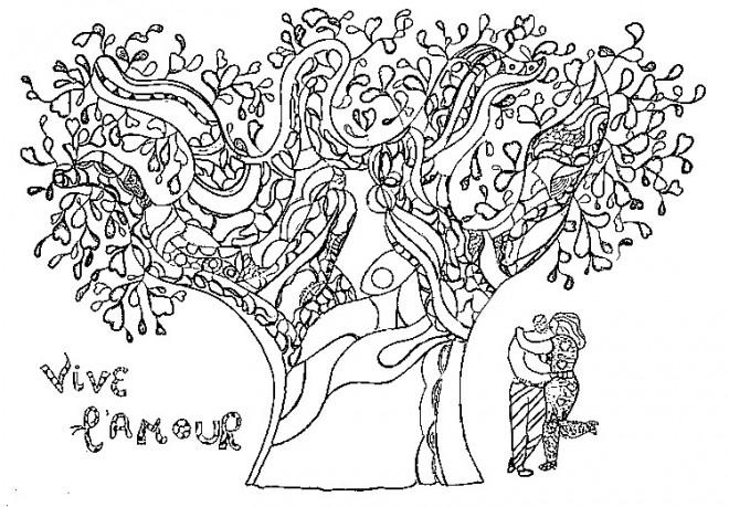 Coloriage et dessins gratuits Amoureux sous L'arbre à imprimer