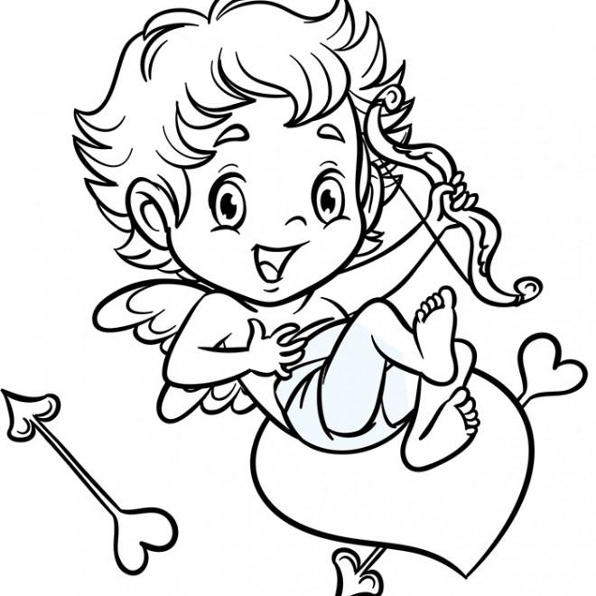 Coloriage et dessins gratuits Ange d'Amour tout beau à imprimer