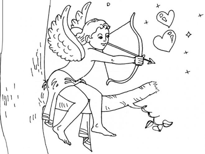 Coloriage et dessins gratuits Ange de L'amour sur L'arbre à imprimer