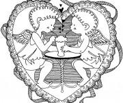 Coloriage et dessins gratuit Anges d'Amour couleur à imprimer