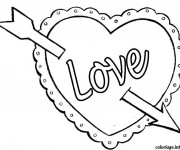 Coloriage Cœur  d'Amour traversé d'une flèche
