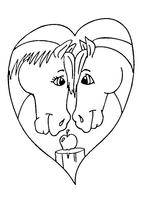 Coloriage et dessins gratuits Chevaux Amoureux à imprimer