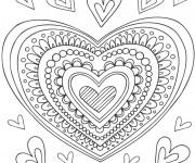 Coloriage et dessins gratuit Coeur d'Amour en couleur à imprimer
