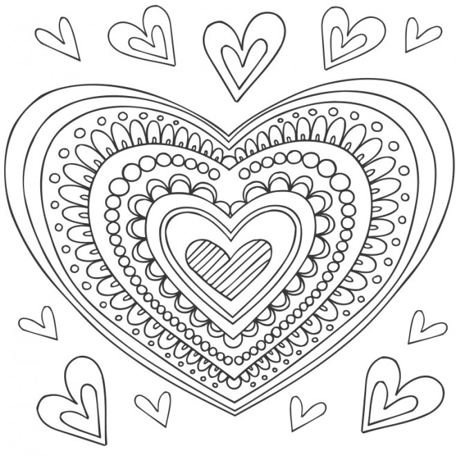 Coloriage et dessins gratuits Coeur d'Amour en couleur à imprimer