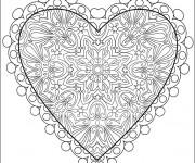Coloriage et dessins gratuit Coeur d'Amour en ligne à imprimer
