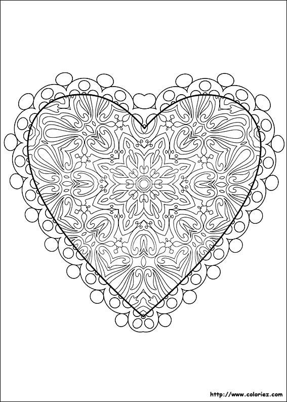 Coloriage Coeur d'Amour en ligne dessin gratuit à imprimer