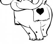 Coloriage Éléphant amoureux porte une fleur