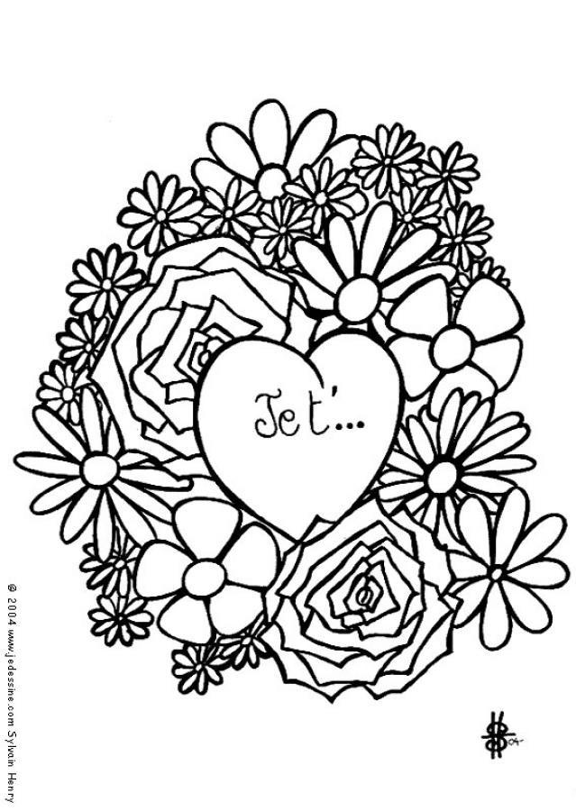 Coloriage et dessins gratuits Je t'aime en ligne à imprimer