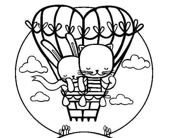 Coloriage et dessins gratuits Les Chats Amoureux magnifiques à imprimer