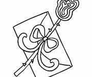 Coloriage et dessins gratuit Lettre d'Amour avec boucle à imprimer