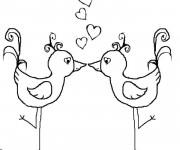 Coloriage et dessins gratuit Oiseaux d'Amour à imprimer