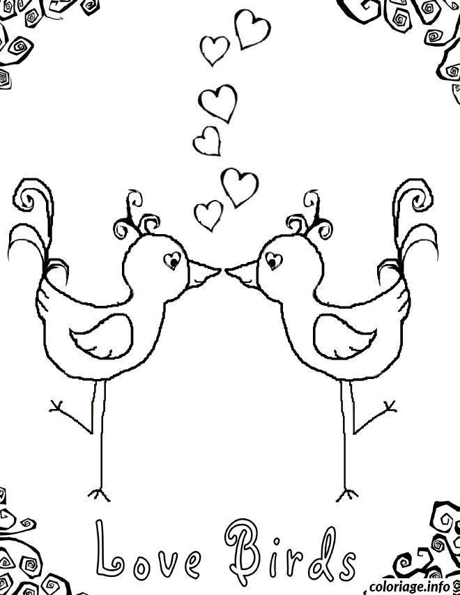 Coloriage et dessins gratuits Oiseaux d'Amour à imprimer