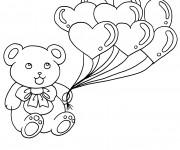 Coloriage Ours et Ballons de Coeurs d'Amour