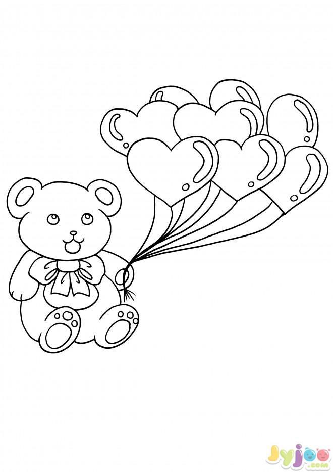 Coloriage et dessins gratuits Ours et Ballons de Coeurs d'Amour à imprimer