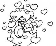 Coloriage et dessins gratuit Ourson mignon et Coeurs d'Amour à imprimer