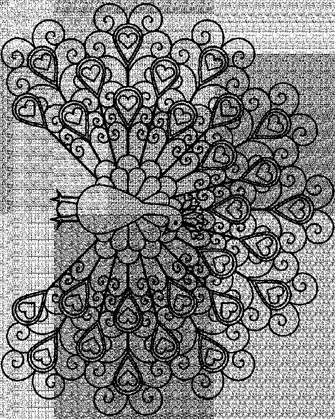 Coloriage et dessins gratuits Paon décoré avec des coeurs à imprimer