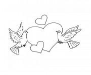 Coloriage et dessins gratuit Pigeons d'Amour à imprimer