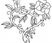 Coloriage Rose  d'amour rouge