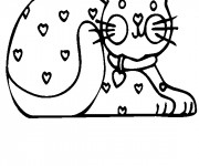 Coloriage Un Chat décoré avec des Coeurs d'Amour
