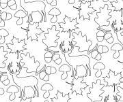 Coloriage et dessins gratuit Anti-Stress cerf et glands à imprimer