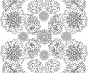 Coloriage Anti-Stress mandala Fleurs Art
