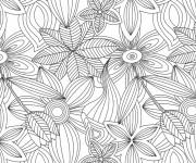 Coloriage et dessins gratuit Fleurs et Feuilles Anti-Stress à imprimer