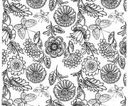 Coloriage et dessins gratuit Fleurs et Papillon pour relaxer à imprimer