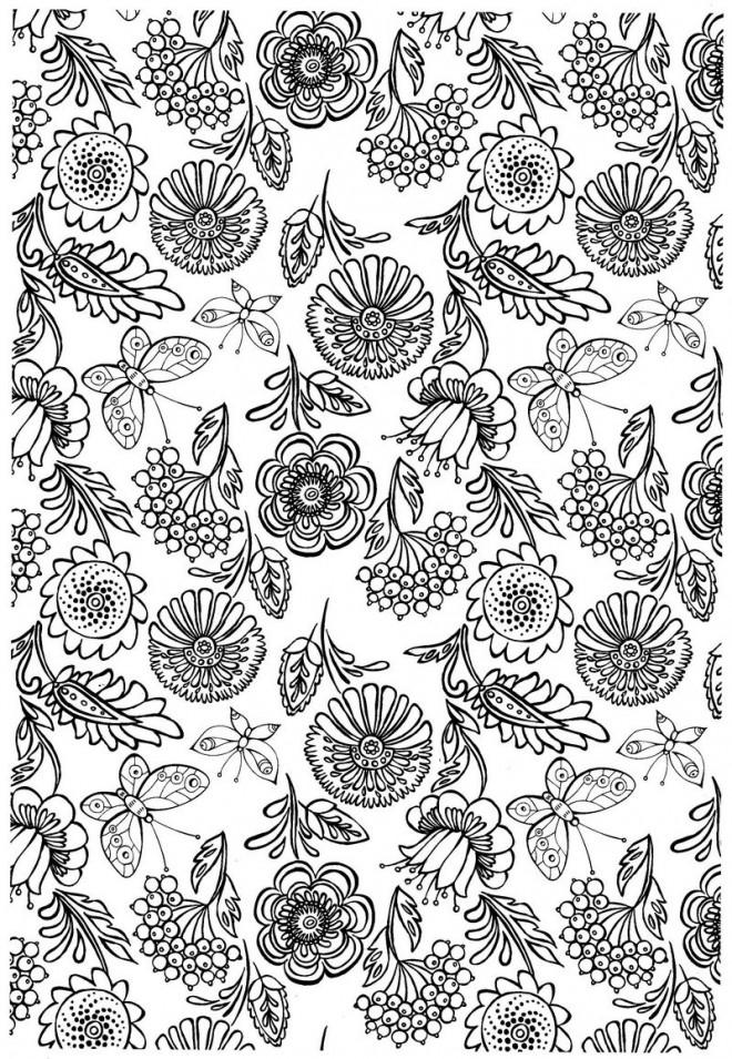Coloriage et dessins gratuits Fleurs et Papillon pour relaxer à imprimer