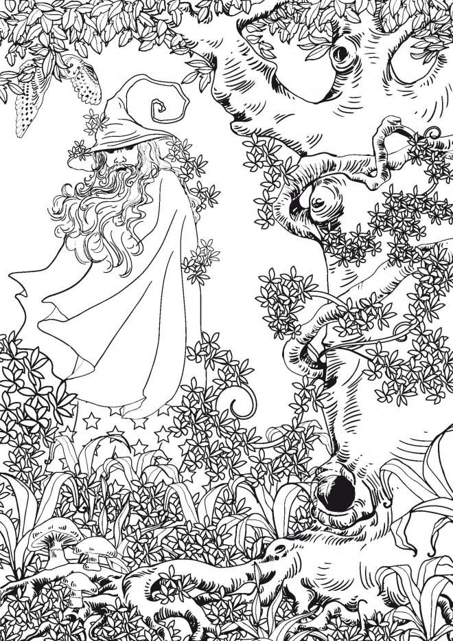 Coloriage et dessins gratuits Paysage Homme sage Anti-Stress à imprimer