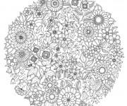 Coloriage Psychédélique Fleurs de Printemps