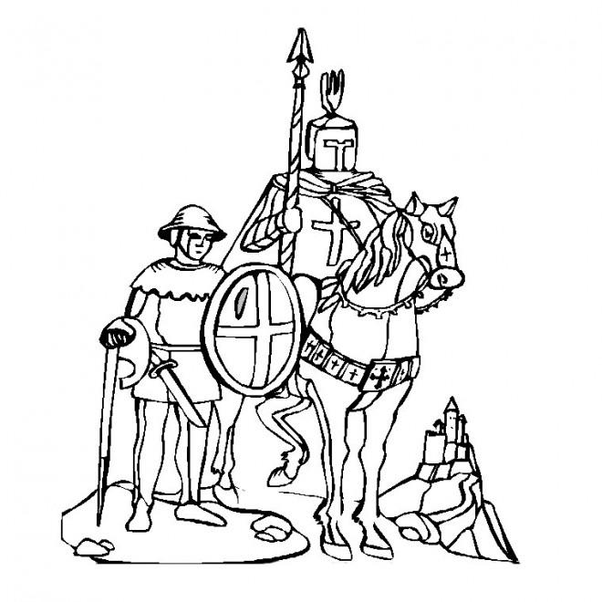 Coloriage Chevalier croisade dessin gratuit à imprimer