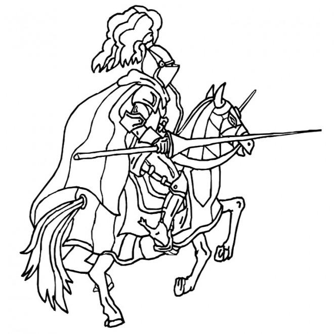 Coloriage et dessins gratuits Guerrier médiéval à imprimer