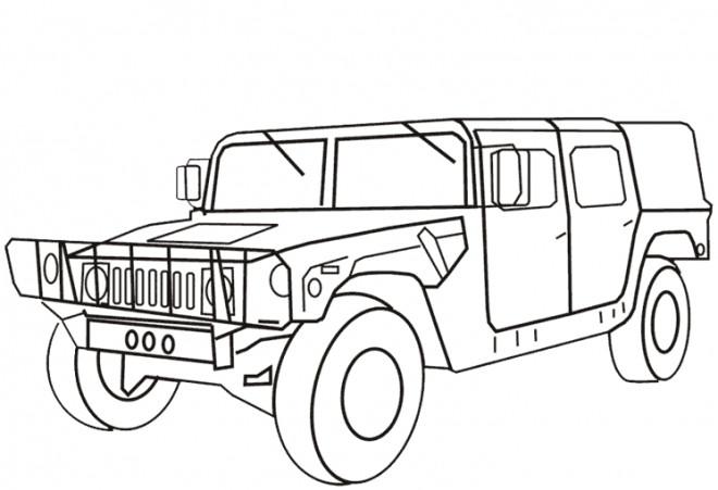 Coloriage et dessins gratuits Vehicule Hummer militaire à imprimer