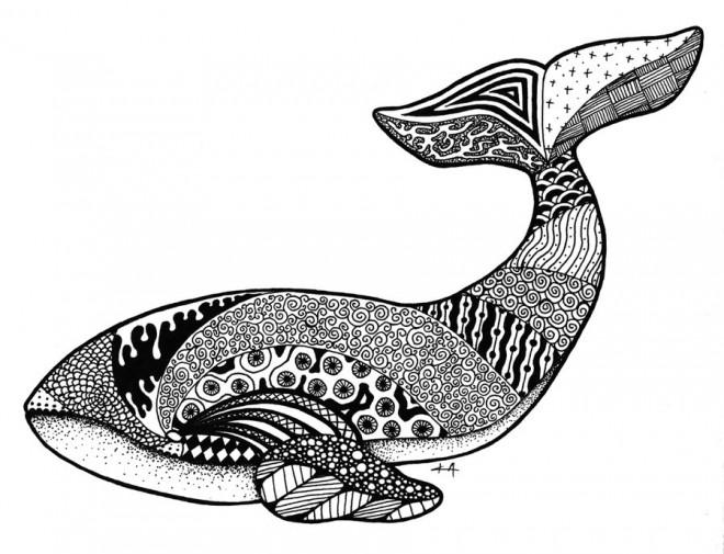 Coloriage et dessins gratuits Art Thérapie Baleine à imprimer